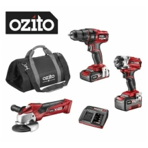 OZITO 3PCE KIT DRILL GRINDER & IMPACT DRIVER & CARRY BAG