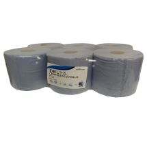 (PACK OF 6) DELTA BLUE CENTREFEED ROLLS QUALITY 150M