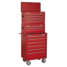 Sealey Topchest, Mid-Box & Roll Cab 14 Drawer Stack - Red